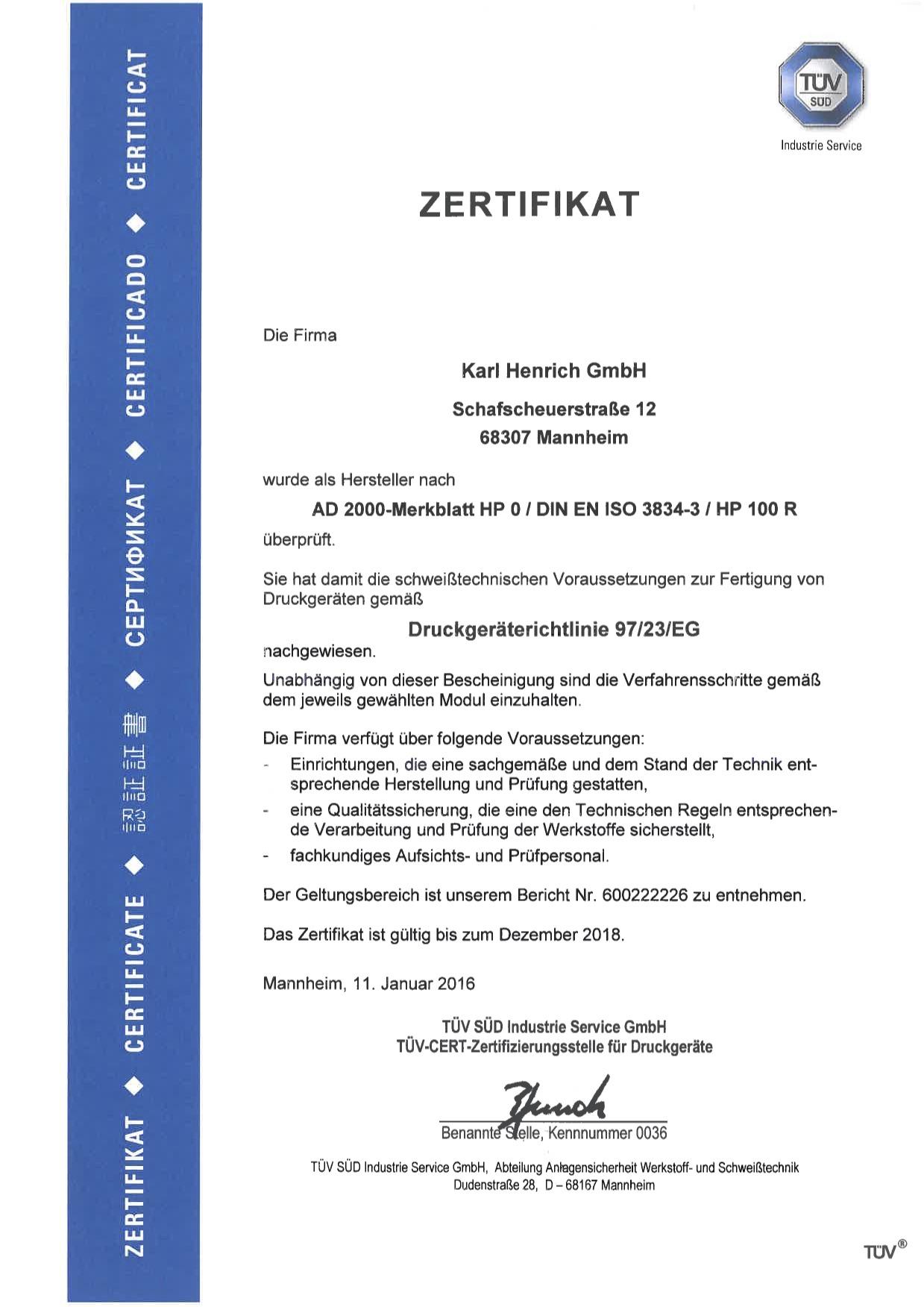 Zertifikat DIN EN ISO 3834-3 Karl Henrich Stahl- und Rohrleitungsbau GmbH