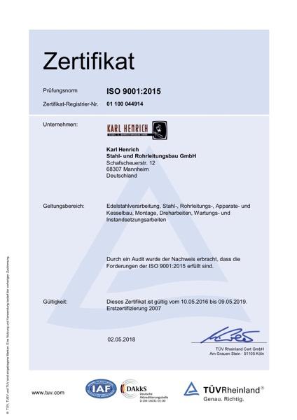 Zertifikat ISO 9001:2015 Karl Henrich Stahl- und Rohrleitungsbau GmbH