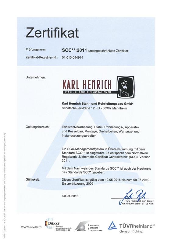 Zertifikat SCC Karl Henrich Stahl- und Rohrleitungsbau GmbH