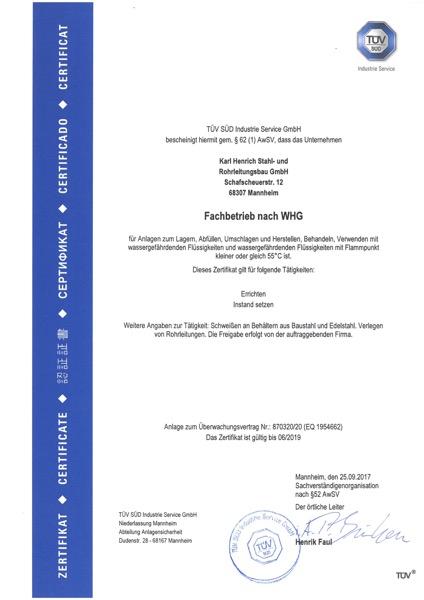 Zertifikat Fachbetrieb nach WHG Karl Henrich Stahl- und Rohrleitungsbau GmbH