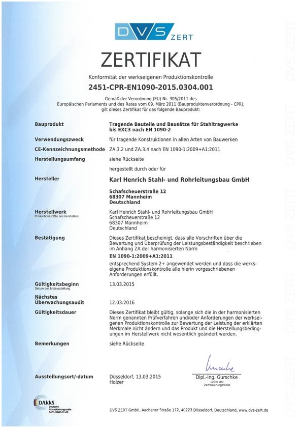 Zertifikat 2451-CPR-EN-1090 Karl Henrich Stahl- und Rohrleitungsbau GmbH